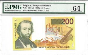 Belgium, 200 Francs, ND (1995), P-148, Uncirculated PMG 64