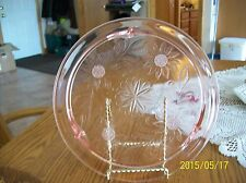 Jeanette Glass Vtg Pink Depression Glass Footed Cake Plate Sunflower Pattern