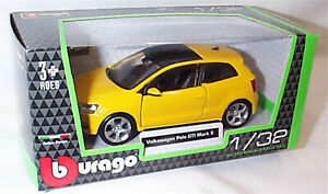 Volkswagen Polo GTI Mark 5 in Yellow 1:32 Scale Diecast  burago New in Box