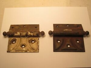 """2 antique hinges hinge pair ball tip end scallop type pattern 3.5"""" approx."""