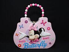 1 Disney Minnie Metal Purse With Buckle & Bead Handle Hand Bag Pink & White