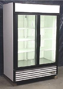 Used True Two Glass Door Freezer Merchandiser