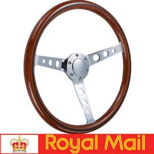 15''/380mm Wood Grain Trim Classic Chrome Spoke Steering Wheel Wooden Universal