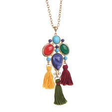 Women Trio Tassel Long Pendant Sautoir Centerpiece Mixed Gems Necklace Colorful