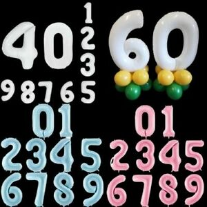 """40"""" Giant Pink Blue White Candy Colours Foil Number Balloons Happy Birthday Age"""
