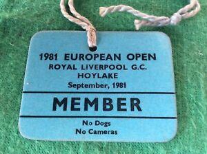 European Open Golf Championship 1981 Member Pass  - Graham Marsh Won