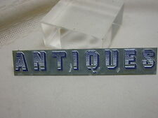 """Small Sign """"ANTIQUES"""" Made From Printing Press Letters 4"""" X 3/4"""" Metal"""