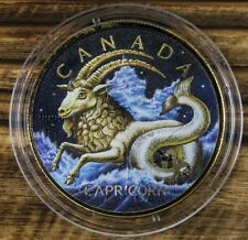 2018 Canada 5$ ZODIAC CAPRICORN MAPLE LEAF 1 Oz Silver Coin, 24kt Gold Gilded.