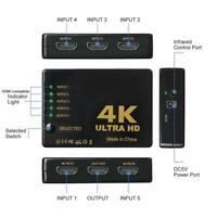 5-Port-UHD 3D 4K 1080P HDMI-Splitter-Schalter Auswahlschalter Umschalter Q8R5