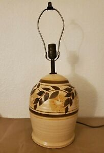 Brown Pottery Table Lamp Vintage bean Pot country Shaped