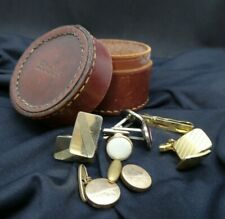 Vintage Leather Stud Box with Collection of Cufflinks Incl 1970s West Germany