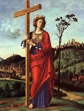 Oil painting cima da conegliano - st. helena with cross in landscape no framed
