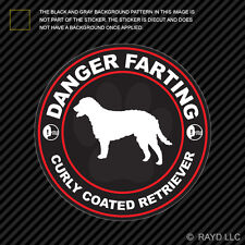 Danger Farting Curly Coated Retriever Sticker Decal Adhesive dog canine pet