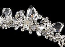 Modern Silver Swarovski Austrian Crystal Rhinestone Bridal Wedding Prom Tiara