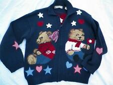 Womens Medium  M Teddy Bear Sweater Cardigan Jacket Patriotic Election Day