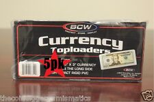 5 BCW Currency Rigid Toploader Regular Size Banknote Holders