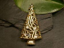 Brosche Modeschmuck Weihnachten Goldfarben Christbaum Tannenbaum Weißer Besatz