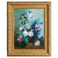 Vintage Oversized Floral Still Life Oil on Canvas Painting of Roses 20th Century