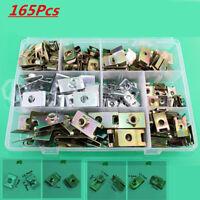 165pcs Mixed Auto Car door panel fastener fixed U Type gasket fender metal clips
