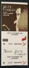ticket billet UNUSED place concert KEITH RICHARDS 1992 PARIS ROLLING STONES
