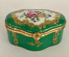 VINTAGE LIMOGES HANDPAINTED TRINKET BOX, PINK FLOWERS ON GREEN BOX, GOLD LEAF