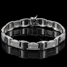 "Lovely Gentlemens 9"" Bracelet  Cubic Zirconia 925 Sterling silver 34g"