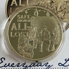 GUERNSEY 2014 WWI CENTENARY LIFE IN THE TRENCHES GOLD PLATED PROOF 50 PENCE -coa