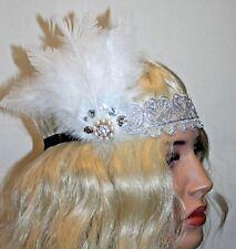 Feather Vintage Headpiece,1920s Great Gatsby Headband, Soft Lace Headband