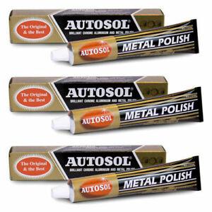 3 x AUTOSOL SOLVOL CHROME METAL ALUMINIUM CLEANER & POLISH 100g ORIGINAL & BEST