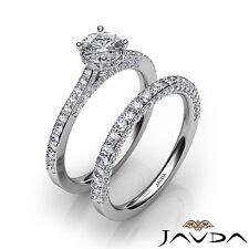Round Shape Natural Diamond GIA E VS1 Platinum 2.15ct Bridal Set Engagement Ring