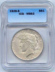 1928 S Silver Peace Dollar. ICG Graded MS 63. Lot #2212