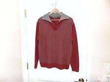 NWOT's Men's Tonino Lamborghini Red/Gray 100% Merino Wool 1/4 Zip Sweater-M