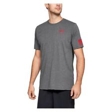 Under Armour Freedom Flag Cotton T-Shirt Charcoal Medium Heather / Red, Size M