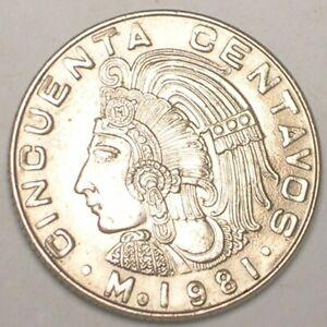 1981 Mexico Mexican 50 Centavos Cuauhtémoc Coin XF