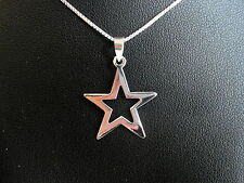 "Sterling Silver (925) Star Pendant With 925 Silver 18"" Chain  !!       New !!"