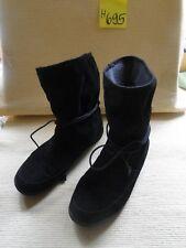 Damen Stiefel Gr. 39 schwarz Wildlederoptik