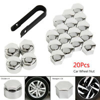 20X 17mm ALLOY CAR WHEEL NUT BOLT COVERS CAPS UNIVERSAL SET FOR VW POLO GOLF