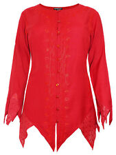 NEW EAONPLUS HIPPIE GOTHIC ZIGZAG PIXIE RED TOP BLOUSE 18 20 22 24 26 28 30 32 #