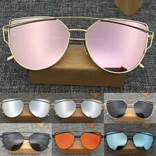 Hot Lady Retro Metal Frame Mirrored Sunglasses Oversized Cat Eye Glasses Eyewear