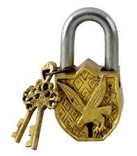 Flying Eagle Vintage Antique Finish Handmade Solid Brass Padlock & Working Key