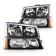 For 03 06 Chevy Silverado Black Housing Amber Side Headlightslamp Assembly Pair Fits More Than One Vehicle