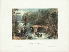 WH BARTLETT Antq 1841 Engraving from CANADIAN SCENERY ILLUS., BRIDGE NEAR QUEBEC