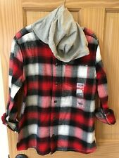 New Oshkosh Boys Plaid Flannel Shirt Top Hooded Hoodie...