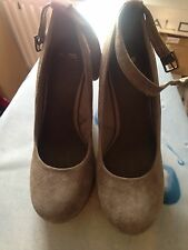 New ASOS Taupe Mink Beige Real Suede Wedges with Ankle Strap Shoes Size 5 38