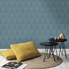 Gatsby Art Deco Wallpaper Teal - Holden Decor 65253 Metallic Sheen