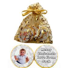1 x bag of 5 Personalised Photo CHRISTMAS SNOWFLAKE Belgian CHOCOLATE COINS Gift