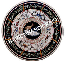 48'' Black Marble Centre Table Top Butterfly Marquetry Inlay Furniture E746A1