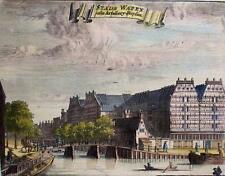 Amsterdam Stads Wapen Antique Book Print Marked 1680 Boats Bridge Hotels