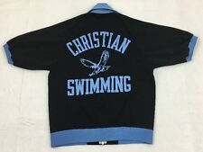 vtg 70s CHAMPION black CHRISTIAN SWIMMING high school s/s warm up track jacket M