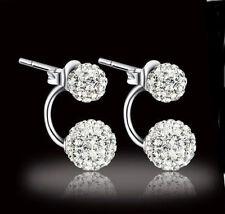 Ohrringe Doppel Perlen Shamballa Kristall Zirkonia Ohrstecker 925 Silber pl. Neu